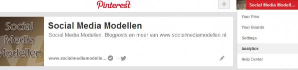 Pinterest Analytics - zorg voor een geverifieerd account