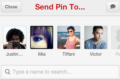 Pinterest update - Send to button