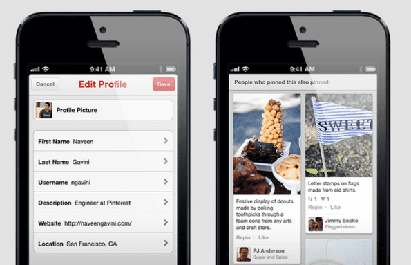 Pinterest update - nieuwe look Pinterest app