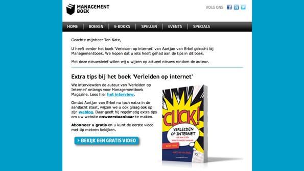 Managementboek biedt extra informatie en tips aan de hand van aankoopgedrag aan.