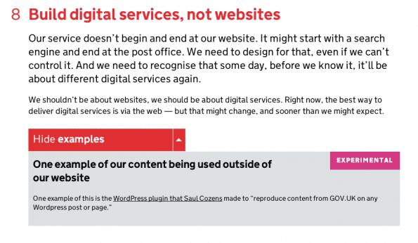 Voorbeeld van de design principes van Government Digital Service