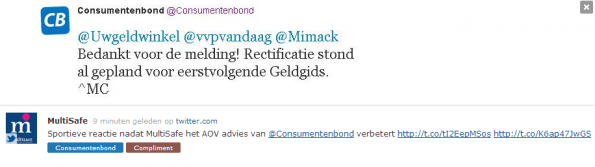 Webcare Consumentenbond voorbeeld compliment tag