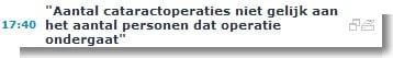 Aantal cataractoperaties niet gelijk aan het aantal personen dat operatie ondergaat BELGA