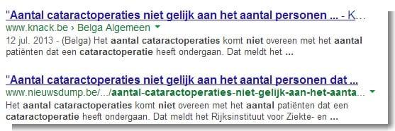 aantal cataractoperaties niet gelijk aan het aantal personen dat operaties ondergaat - Google nieuwsresultaat