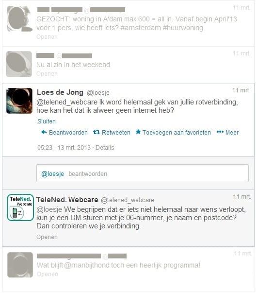 Voorbeeld van reactieve tweet zonder personalisatie, zoals gebruikt in het experiment (de namen van de consument en het bedrijf zijn fictief)