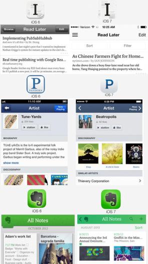 Apps voor en na optimalisatie voor iOS 7