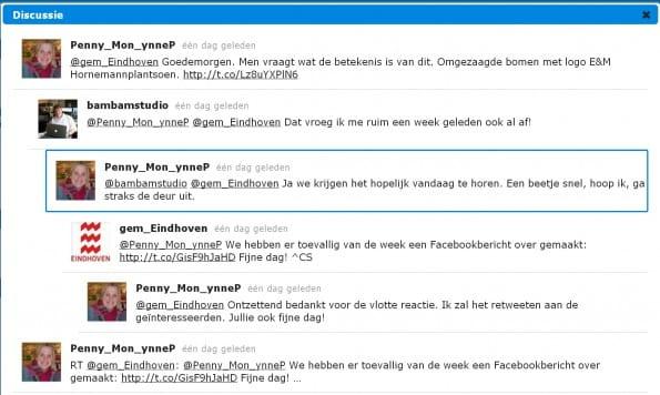 Webcare voorbeeld van de Gemeente Eindhoven op Twitter