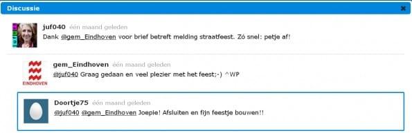 Webcare voorbeeld van de gemeente Eindhoven in reactie op een tweet van een burger