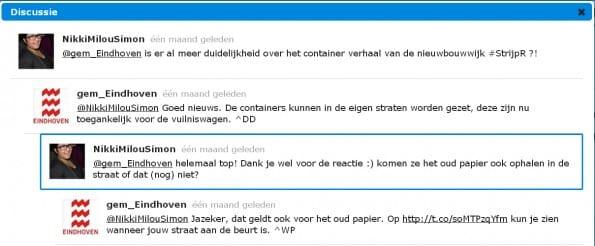 Eindhovense burger wordt enthousiast van het antwoord van Gemeente Eindhoven op Twitter over afvalcontainers