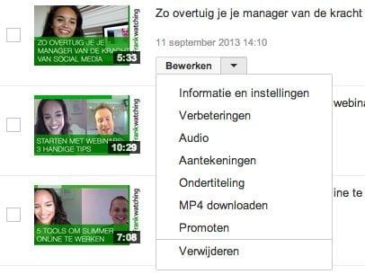 YouTube uploads bewerken