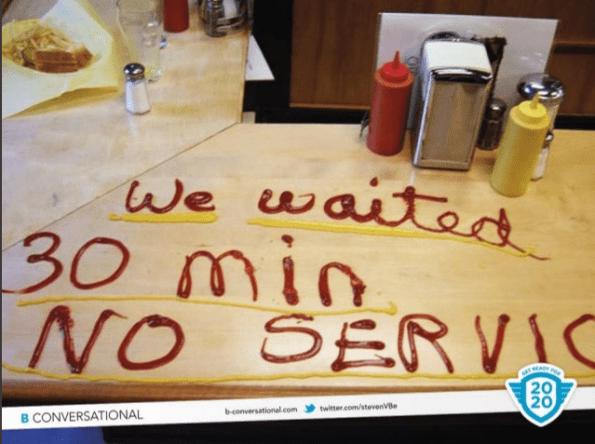 We waited 30 min no service