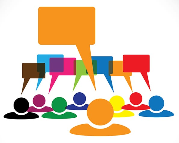 Concept vector graphic- leader & workers talking(speech bubbles)