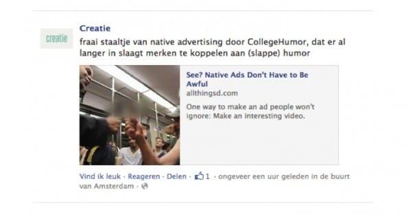 Facebookpost van Creatie - Een fraai staaltje Native Advertising van CollegeHumor