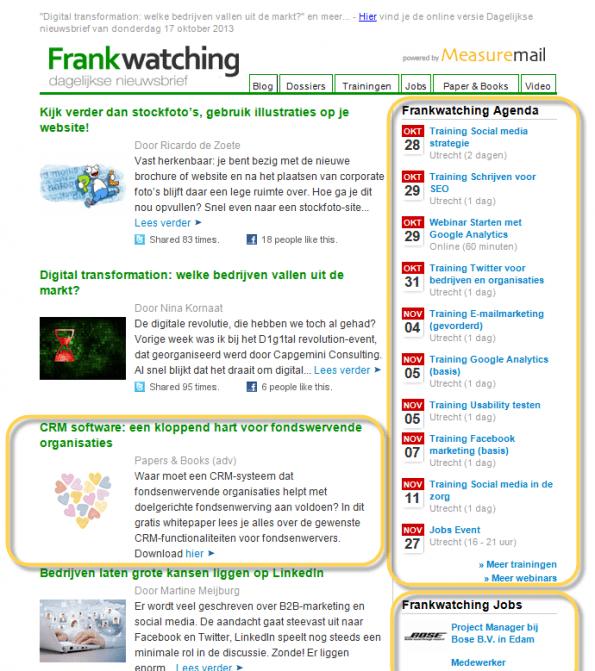 voorbeeld nieuwsbrief Frankwatching