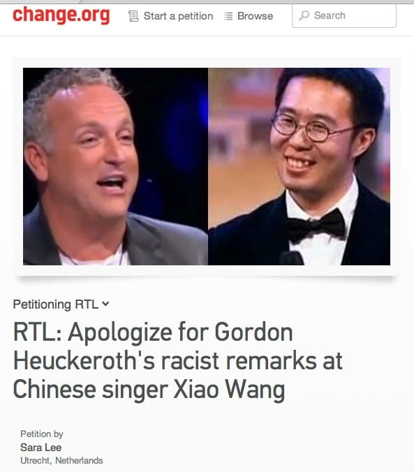 Petition | RTL_ Apologize for Gordon Heuckeroth_s racist remarks at Chinese singer Xiao Wang | Change.org