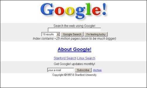 Screenshot van Google in 1997