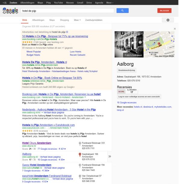 Lokaal Google resultaat: hotel de pijp