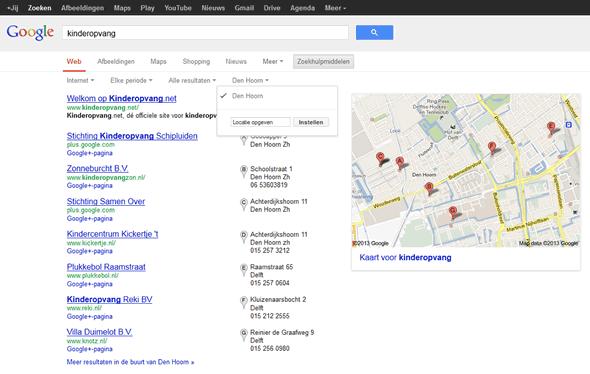 Google lokaal zoeken nl kinderopvang Den Hoorn