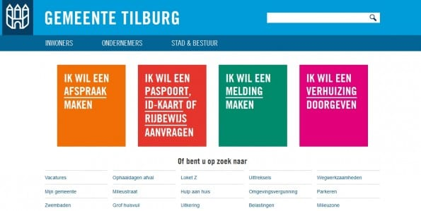 De homepage van Tilburg.nl