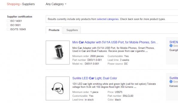 Google Shopping suppliers screenshot