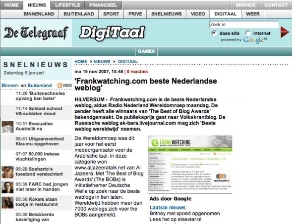 Frankwatching Telegraaf 2007
