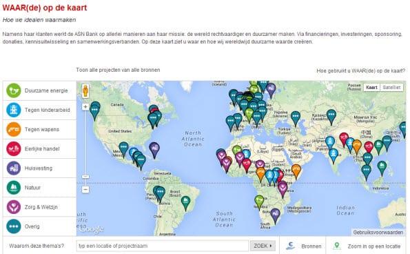 De ASN Bank is transparant in hun merkpositionering met deze kaart