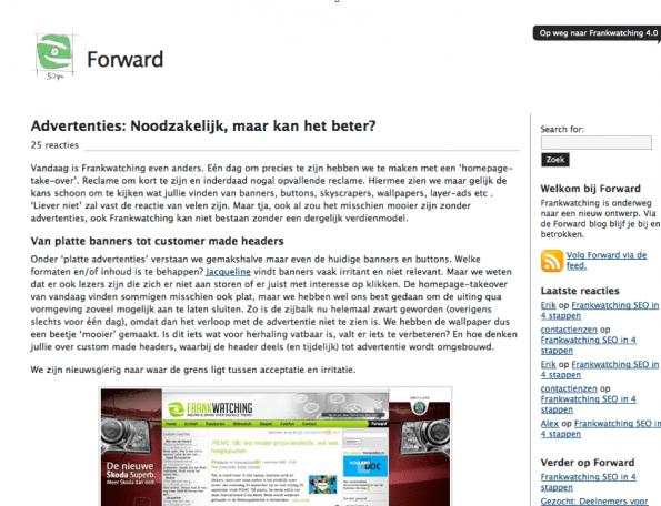 Co-creatie met Frankwatching-community op Forward (vanaf september 2008)