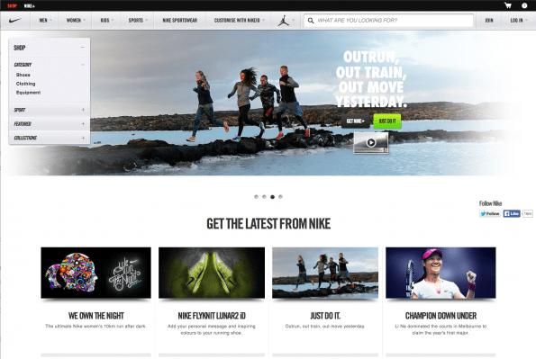 Voorbeeld van de Nike website met een goede identiteit, branding en logo.
