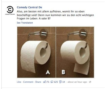duitse comedy central, wc rol a of b