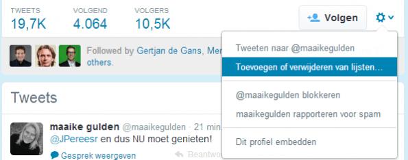 Twitter-gebruiker aan lijst toevoegen of verwijderen van lijst