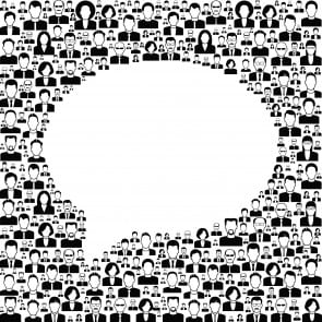 background people with speech bubble