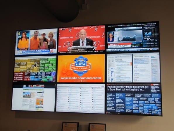 Het social media command center tijdens de Superbowl