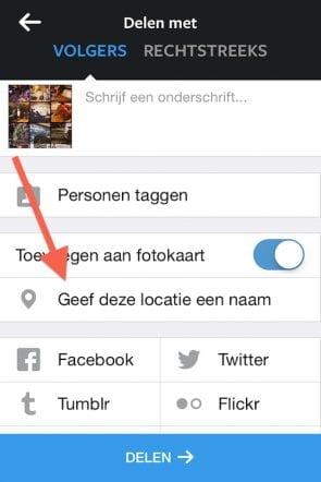 foto's locatie meegeven op instagram