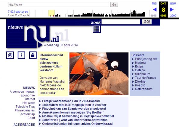 Nu.nl op 8 mei 1999 - Bron: Wayback Machine