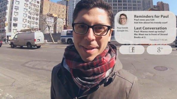 Voor de hele demo van Google Glass ga je naar https://www.youtube.com/watch?v=JSnB06um5r4