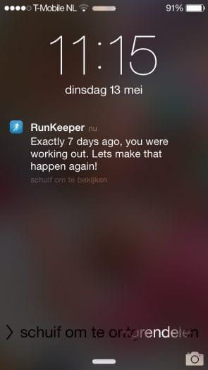 Vooreeld Runkeeper - reminder