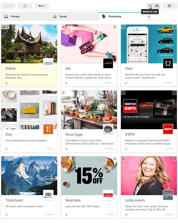 De nieuwe grid view in de tab met promotionele e-mails