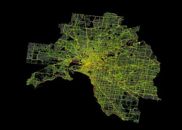 Heatmap van Strava Metro. Data van hardloop en wielrenroutes in de stad Melbourne