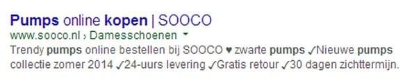 Sooco laat zijn meta-description opvallen met vinkjes en een hartje.