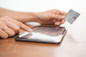 Online shopping using digital tablet and credit card
