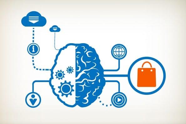 Shopping bag and abstract human brain