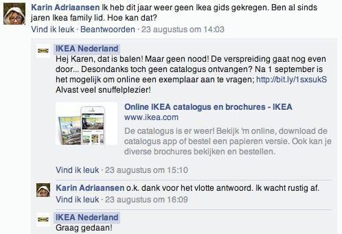 Actie en empathie door IKEA Nederland op Facebook (Ikea scoorde altijd goed in de DCPI) .