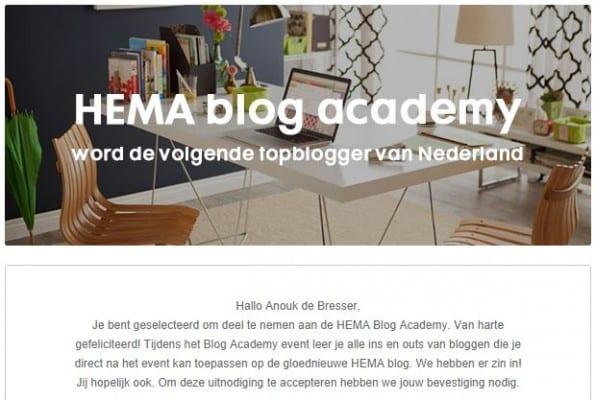 Weergave van de uitnodiging voor het Hema Blog Academy Event
