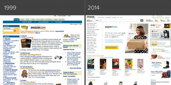 Amazon homepage in 1999 en 2014