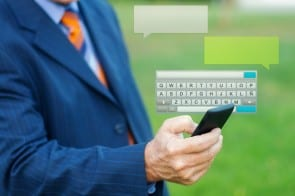 Man texting with Smartphone