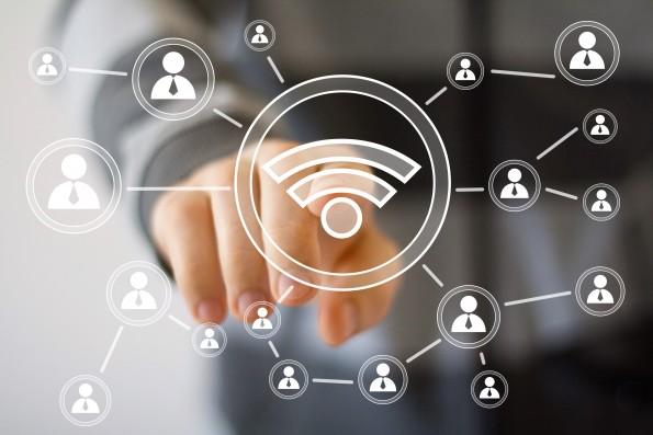 Social Network Interface businessman wifi signal