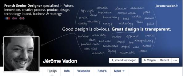 Facebook cover van de Franse designer Jérome Vadon