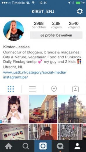 Instagram account van Kirsten Jassies