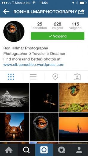Instagram account Ron Hillmar Photography