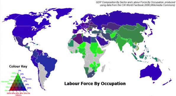 In het blauw de diensten waarvoor arbeidskrachten nodig zijn.